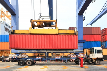 container operation in port photo