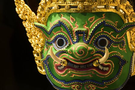 ramayana: Native Thai style giant mask, Khon  Stock Photo