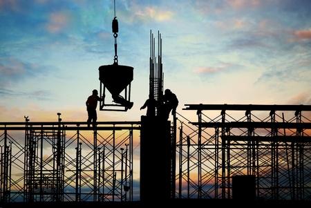 andamio: construcci�n silueta Foto de archivo
