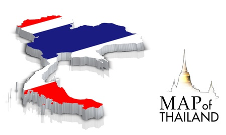 Map of Thailand with flag isolated on white photo