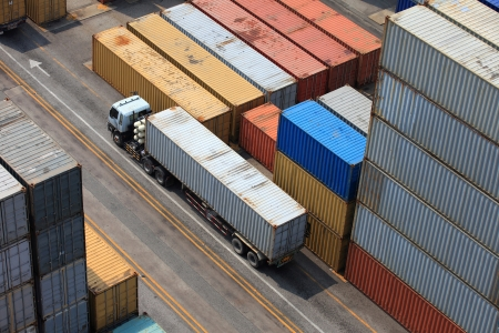 depository: Containers at the Docks with Truck
