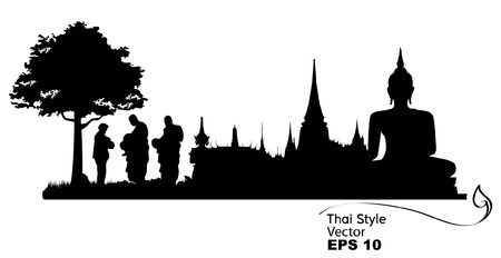 buddhist: Silhouettes of buddhist monk and people praying