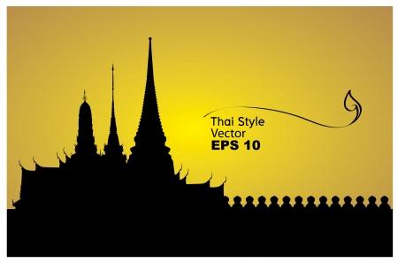 thai buddha: Ilustraci�n vectorial de Bangkok palacio real
