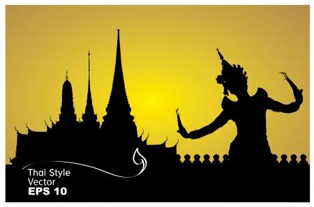 asian culture: danza donna tailandese con tempio in silhouette sfondo Tailandia Vettoriali
