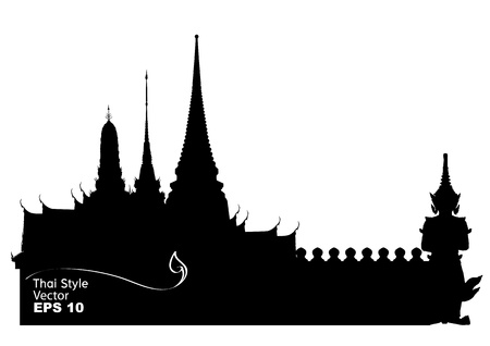 tempels: Vector illustratie van Bangkok koninklijk paleis