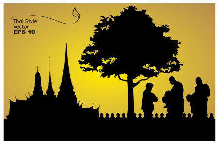 Thai people believe, Pay homage to a Buddha image illustration-vector Vector