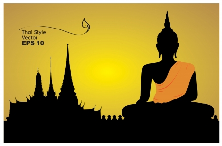 wat: Silhouette of a Buddha  vector