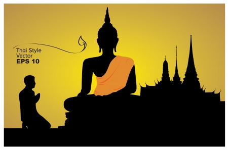 cabeza de buda: Los tailandeses creen, rendir homenaje a una imagen de Buda ilustraci�n-vector Vectores