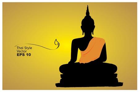 thai buddha: Silueta de un vector Buda Vectores