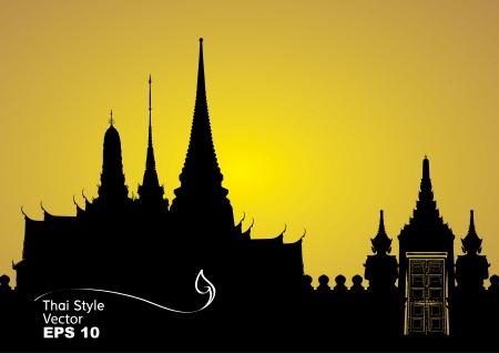 buddhist temple: Vector illustration of Bangkok royal palace