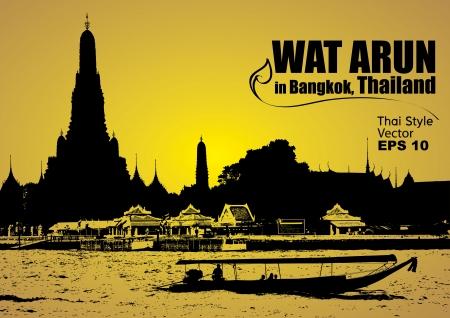 bangkok landmark: Wat Arun in bangkok thailand, Vector