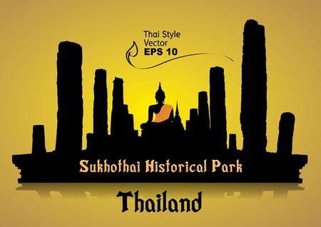 silhouette, Sukhothai Historical Park, Sukhothai Province, Thailand Vector