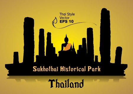 buddha tranquil: silhouette, Sukhothai Historical Park, Sukhothai Province, Thailand Illustration