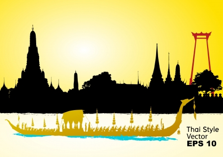 bangkok: Royal Barge Suphannahong, Wat Arun, Bangkok Illustration