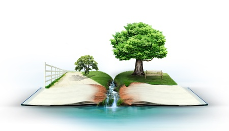 dream land: Open book with green nature
