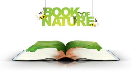 Open book with green nature photo