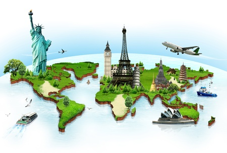world travel: Travel the world monuments concept