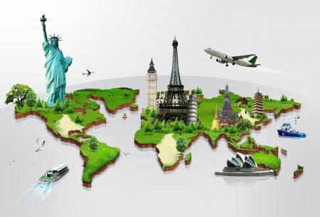 지도: 세계 기념물의 개념을 여행 스톡 사진