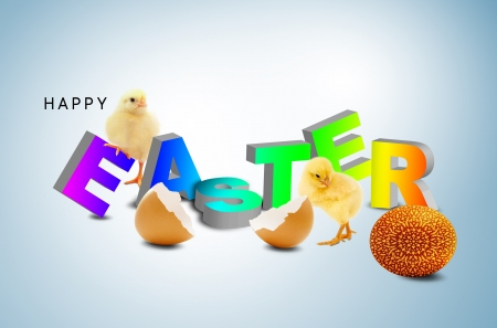 A fluffy yellow chick coming out of an easter egg shell photo