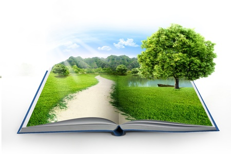 dream land: book of nature isolated on white Stock Photo