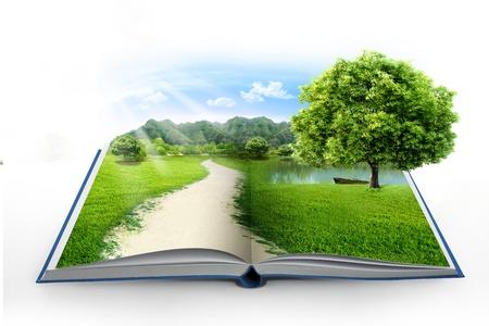 cielos abiertos: libro de la naturaleza aislado en blanco Foto de archivo