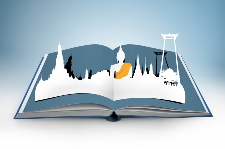 3D open book with thailand bangkok travel concept photo