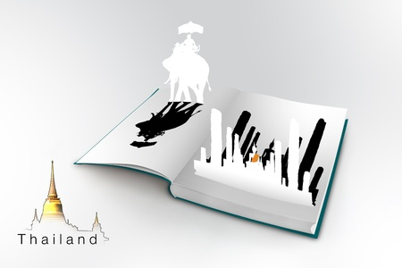 3D open book with thailand bangkok travel concept Stock Photo - 18666906