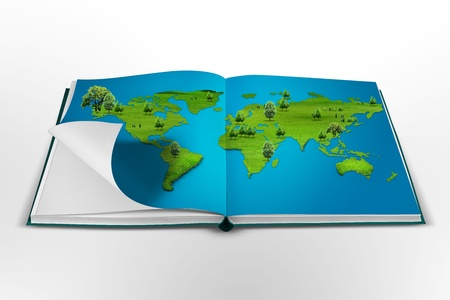 open book with the world map photo
