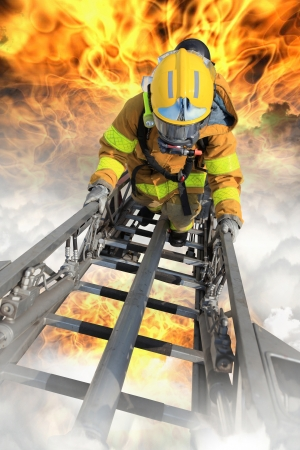fireman helmet: Firefighter ascends upon a one hundred foot ladder