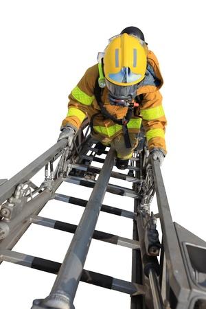 ascends: Firefighter ascends upon a one hundred foot ladder