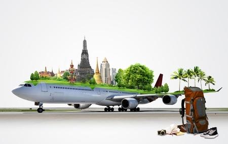 leerboek: Vliegtuig reizen, concept