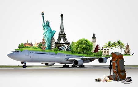 travel the world by airplane, concept photo