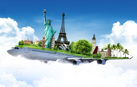 飛行機で世界を旅行の概念