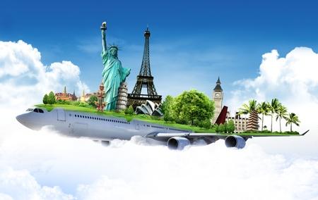 reist de wereld per vliegtuig, concept Stockfoto
