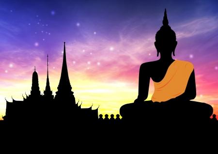 budda: Big buddha statue in sunset Stock Photo