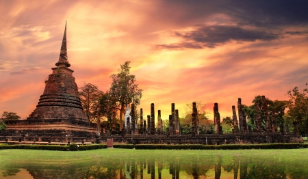 Sukhothai historical park, the old town of Thailand Standard-Bild