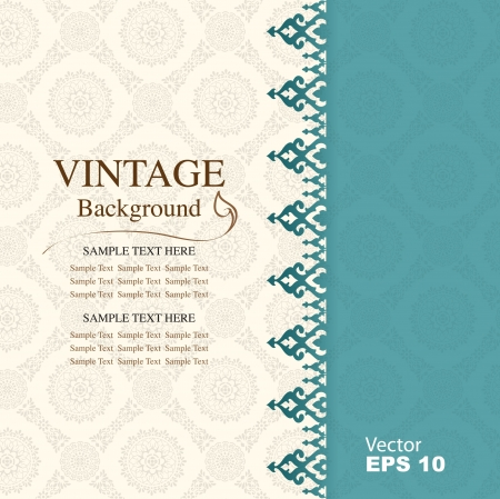 Vintage background, antique greeting card Vector