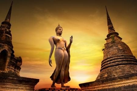 古代仏像スコータイ歴史公園、スコータイ県、タイ 写真素材