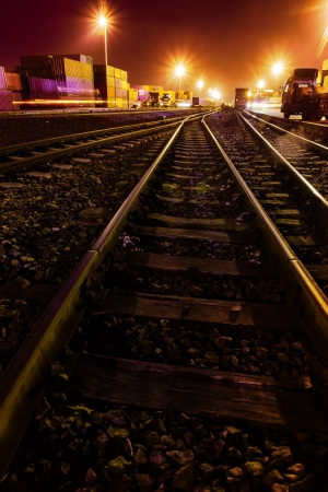 Cargo train platform at sunset with container Stock Photo - 20884612