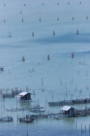 Group of fisherman huts in the sea at dawn  photo