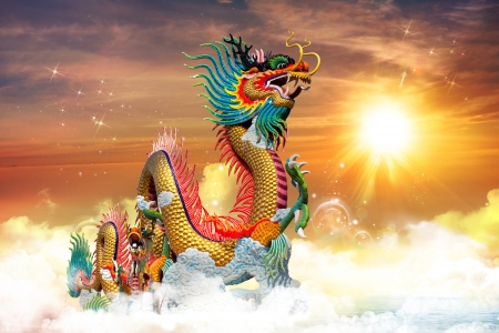 Chinese dragon at sunset in the background Standard-Bild