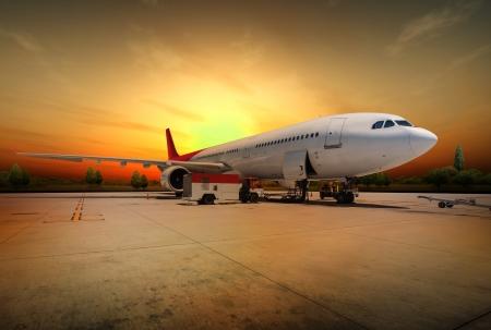 Vliegtuig voorbereiden op de vlucht Stockfoto