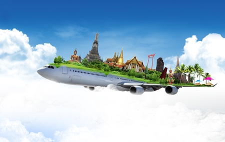 spiritual journey: travel thailand by airplane, concept