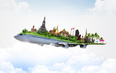 viagem: tailândia por avião, conceito Banco de Imagens