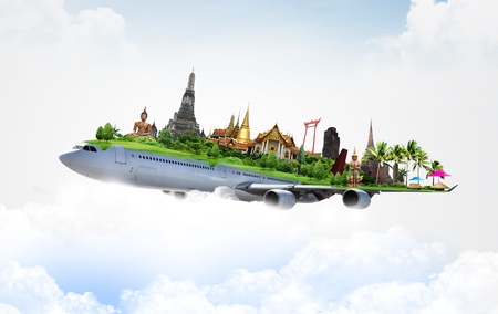 spiritual architecture: travel thailand by airplane, concept
