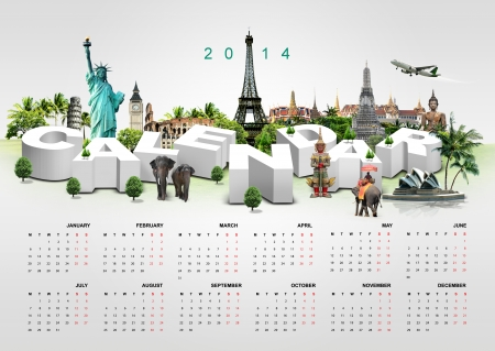 Calendar 2014 on travel background  photo