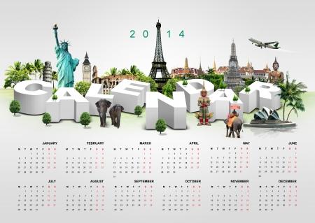 Kalender 2014 op reizen achtergrond