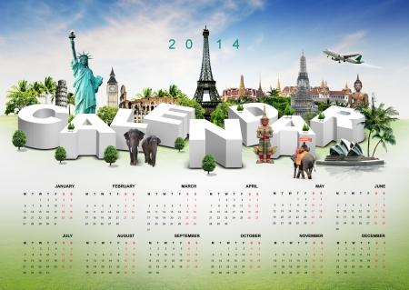 pise: Calendar 2014 on travel background