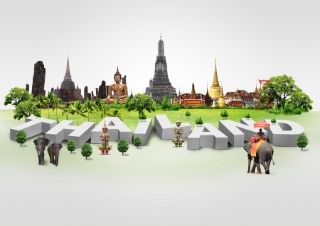 Thailand travel background and infographic, concept photo