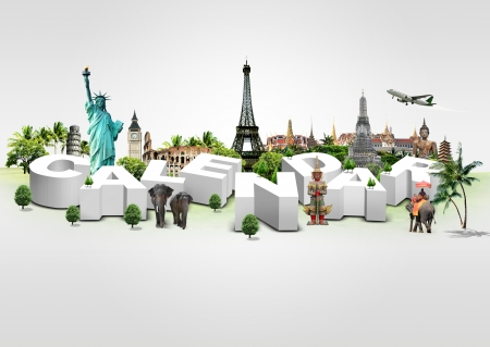3D Illustration of Calendar on travel background illustration
